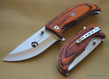"ELK RIDGE 5.25"" CLOSED BROWN WOOD HANDLE FOLDING KNIFE GUT HOOK BLADE W/ CLIP"