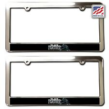 POWERED BY PANTHERS Chrome License Plate Frame Tag Border