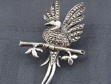 schöne alte Brosche Silber  Markasiten Vogel
