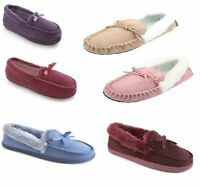 LADIES WOMENS FUR TRIM MOCCASIN SLIPPERS Rose Pink Beige Size 3 4 5 6 7 8 NEW