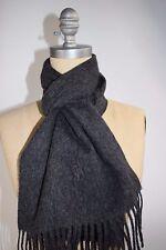 NWT RALPH LAUREN Men's Charcoal Black BIG PONY 100% Italian Wool Scarf Gift Box
