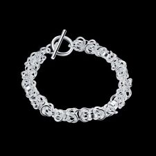 Fashion 925Sterling Solid Silver Jewelry Dragon T-O Bracelet For Women H033