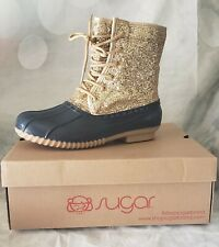 Navy & Gold Glitter Womens Duck Boots Sz 7 NEW NIB Sugar