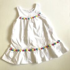 Guess Infant Baby Girls Sleeveless Swing Dress Size 18 Mo White Colored Pom Poms