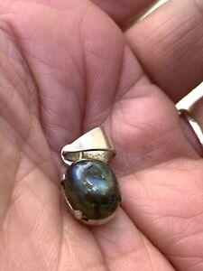 Multicolor Labradorite Oval Cabochon Pendant  In Sterling silver #2