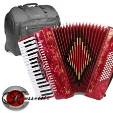 Rossetti 3460 60 Bass 34 Keys 5 Switch Piano Accordion - RED + Padded Gig Bag