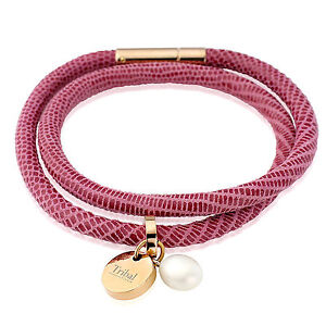 Tribal Steel 19cm Ladies Dotted Double Pink Leather Bracelet with Tag