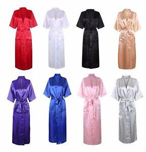 Sexy Lady Long Silk Kimono Dressing Gown Bath Robe Babydoll Lingerie Nightdres*