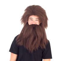 Adult Men's Deluxe Prehistoric Cave Man Long Hair Wig and Beard Cosplay Accesso