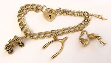 Fabulous Ladies Heavy Vintage 9Ct Gold Charm Bracelet With Padlock & Charms