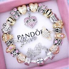 Authentic Pandora Bracelet with MOM ANGEL FAMILY WIFE Gold European Charms