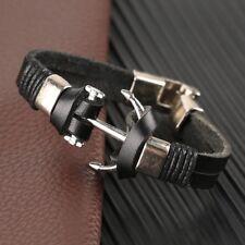Armband schwarz Leder Anker silber Retro Sport Herren Mode Schmuck