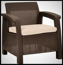 KETER Patio Armchair Brown Plastic Wicker Outdoor Lounge Chair Tan Cushion Seat