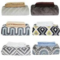 3pc THROW BLANKET PILLOWCASE SET - Textured Printed Solid Microfiber Bedding