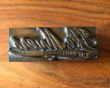 Vintage Letterpress Printers Block Copper Plate Solid Metal Ike Myers Clothier