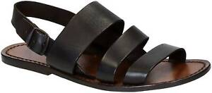 Handmade brown leather strappy sandals for men's made in Italy