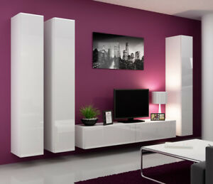 Seattle 7 - White contemporary entertainment center / living room wall unit