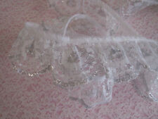 White and Silver Ruffled Lace Trim, 2 In Wide, 2 YARDS, Scalloped Edge Lace