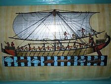 Egyptian Authentic Papyrus from Giza- Ancient Sail boat - Fish swimming under