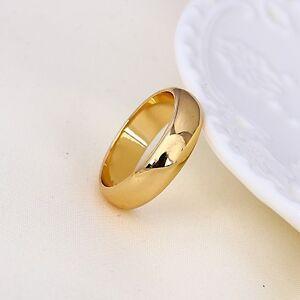 """9ct 9K Yellow """"Gold Filled"""" Men Women Plain Wide Wedding Band Ring Various Size"""
