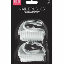 2 x Clear Heavy Duty Nail Scrubbing Cleaning Retro Brush Manicure Pedicure