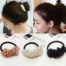 Fashion Lady Women Crystal Pearl Beads Hair Band Rope Scrunchie Ponytail Holder