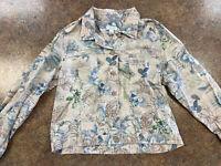 Christopher & Banks Womens Tan Blue Green Paisley Floral Linen Cotton Jacket L
