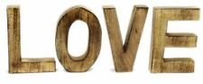 Natural Wood Freestanding Sign Letters Ornament Block Word Art Decoration ~ Love