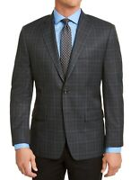 Michael Kors Mens Blazer Gray Size 36 Plaid Print Classic Fit 2-Button $295 #298