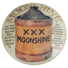 Moonshine Jug Round Dome Tin Sign rustic bar country prim funny metal wall decor
