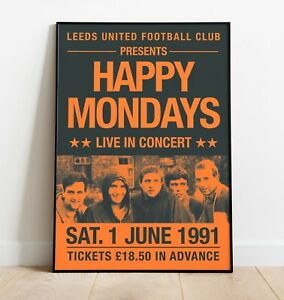 Happy Mondays Gig Poster, Reworked Concert Poster, Wall Art