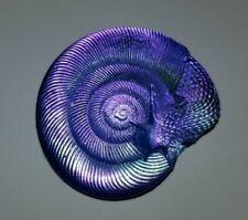 ROBIN LEHMAN Dichroic Glass Purple Snail Paperweight Figurine