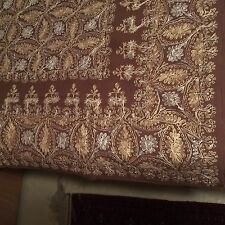Vintage Large Damascus Aghabani Gold Silk Embroidered brown Tablecloth 8 Napkins
