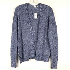 Gap Womens Cardigan Sweater Small Blue White Open Front Long Sleeve Stretch 232