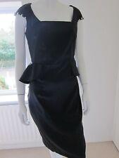 Petals Black Satin Stripe Dress Pinstripe Peplum Wiggle Party Size 12 studs