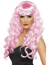 Long Pink Wavy Wig, Siren Wig, Fancy Dress Accessory, Movie Star. #AU