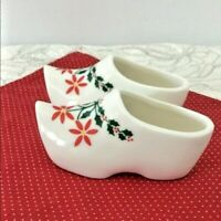VTG Old World Ceramic Wooden Shoes Christmas Decor