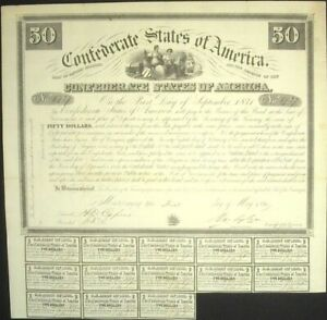 1861 CONFEDERATE STATES OF AMERICA $50 BOND CR#5 13 COUPONS ATTACHED RARE!