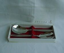 Angora Made In England Stainless Steel Salad Servers (Fork & Spoon) 22.5cm Boxed