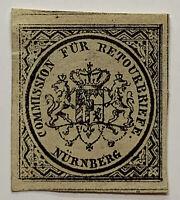 1865 NURNBERG STAMP COMMISSION FOR RETOURBRIEFE (RETURNED MAIL) NUREMBURG