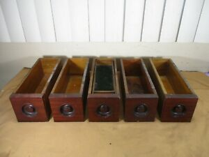 5 Vintage Wooden Sewing Machine Cabinet Drawers with Inner Tray Lot