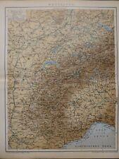 Landkarte der Westalpen, Alpen, Schweiz, Turin, Brockhaus um 1898