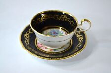 Vintage AYNSLEY Black Floral Wildflowers Tea Cup and Saucer Heavy Gold Teacup
