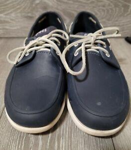 Crocs Men's Navy Blue & White Beach Line 14327 Boat Shoes Size 13