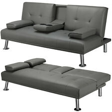 Sleeper Sofa Bed Convertible Leather Couch Adjustable Living Room Futon Gray