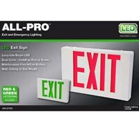 All-Pro Exit Emergency Light Ap Series 2 Color Red/Green LED Exit Sign