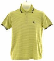 FRED PERRY Boys Polo Shirt 13-14 Years Green Striped Cotton  KW11