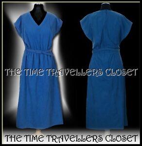 Vintage 70s does 40s German Blue Faux Suede Suedette Belted Tea Dress UK 10 12