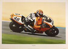 """Derrick marque """"wild card"""" moto ducati motogp art taille:41 cm x 61 cm rare"""
