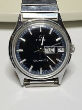 Vintage Mens 1970's Timex Q Day Date Wrist Watch w/ Fresh Battery A Cell 58510